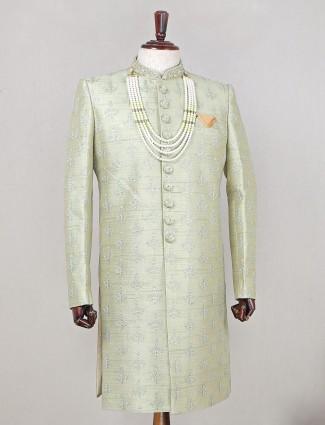 Pista green color designer indo fusion sherwani for wedding