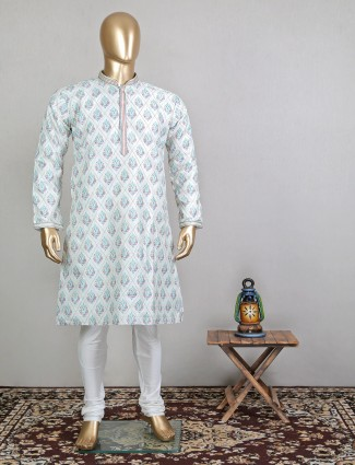 Pista green cotton festive wear kurta suti for mens