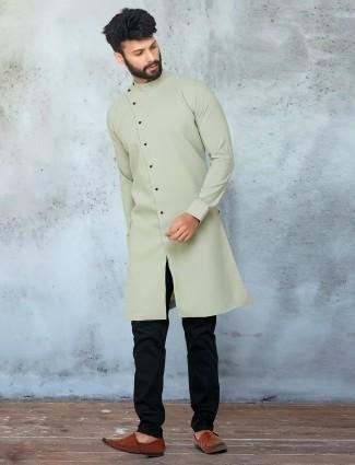 Pista green cotton kurta with churidar for mens