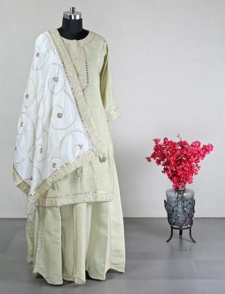 Pista green cotton silk lehenga style for wedding