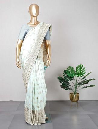 Pista green cotton silk saree for festive