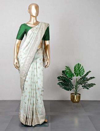 Pista green cotton silk wedding wear saree