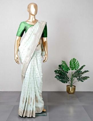Pista green cotton silk wedding wear saree for women