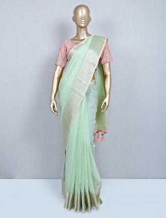 Pista green designer cotton wedding wear saree
