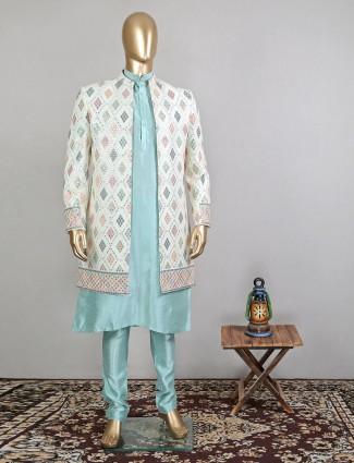 Pista green designer mirror work indowestern sherwani