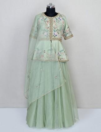 Pista green designer organza silk lehenga salwar suit