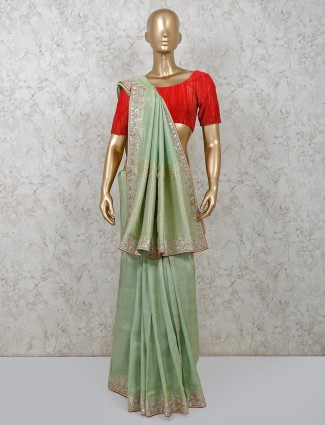 Pista green dola silk saree design