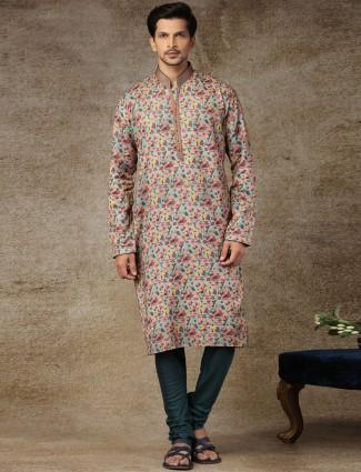 Pista green full sleeves printed kurta suit for festive