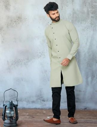 Pista green georgette full sleeeves solid kurta suit