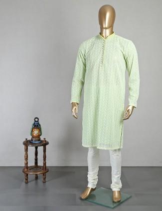 Pista green georgette kurta suit for mens