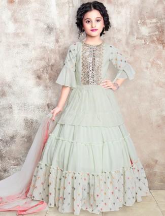 Pista green georgette wedding occasions lehenga choli