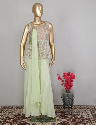 Pista green georgette wedding occasions palazzo style salawar suit