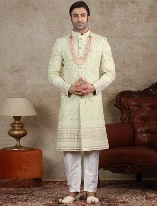 Pista green georgette wedding wear textured sherwani