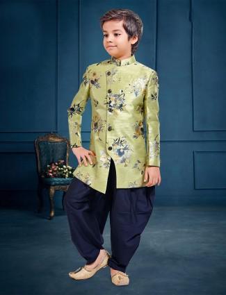 Pista green hue raw silk fabric boys indo western for party