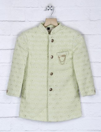Pista green hued terry rayon indo western