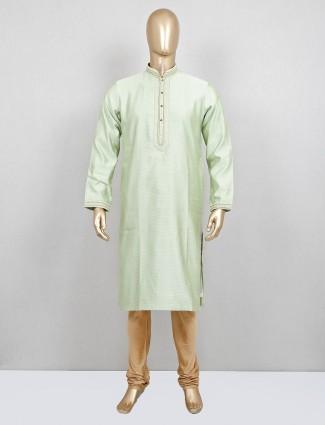 Pista green kurta suit in cotton silk
