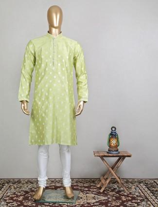 Pista green kurta suit in raw silk for festives