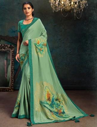 Pista green marble chiffon festive wear saree