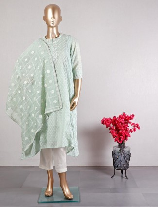 Pista green pant style salwar suit for wedding