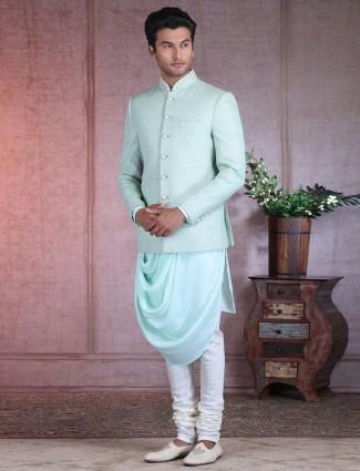 Pista green raw silk mens wedding indo western