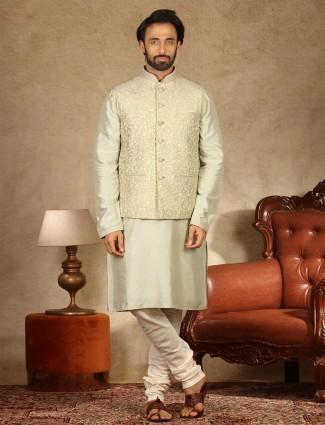 Pista green raw silk waistcoat set for festive occasion