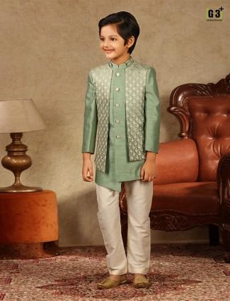 Pista green raw silk wedding wear boys indo western