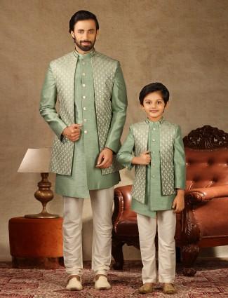 Pista green raw silk wedding wear father and son special indo western