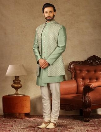 Pista green raw silk wedding wear indo western