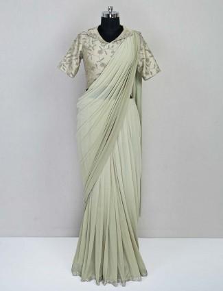 Pista green ready to wear wedding saree