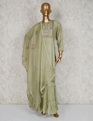 Pista green round neck cotton silk sharara suit