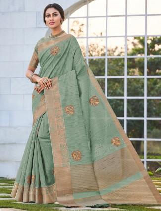 Pista green saree in handloom cotton party wear