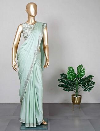 Pista green satin saree with ready made blouse