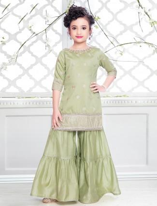 Pista green shade cotton silk sharara suit for women