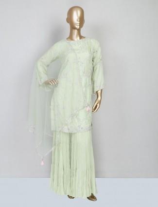 Pista green sharara salwar kameez for wedding