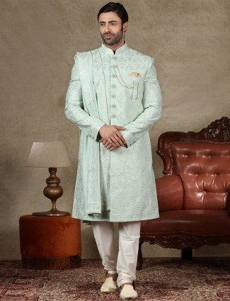 Pista green silk fabric sherwani for wedding occasions