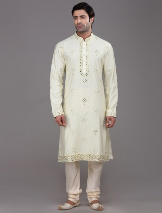 Lemon Yellow mirror work silk kurta suit
