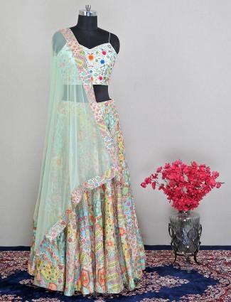 Pista green silk lehenga choli for wedding