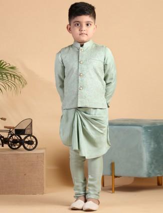 Pista green silk waistcoat set for boys