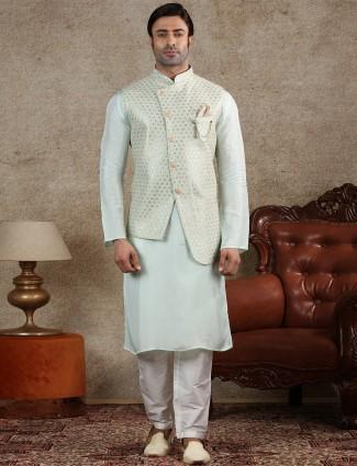 Pista green silk waistcoat set for mens