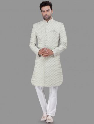Pista Green silk wedding wear indo western
