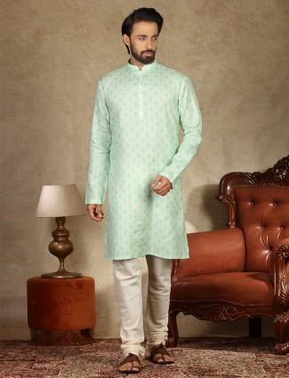 Pista green sober linen printed kurta suit for mens