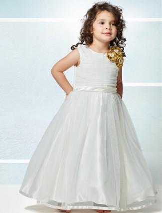 White solid designer floor length gown