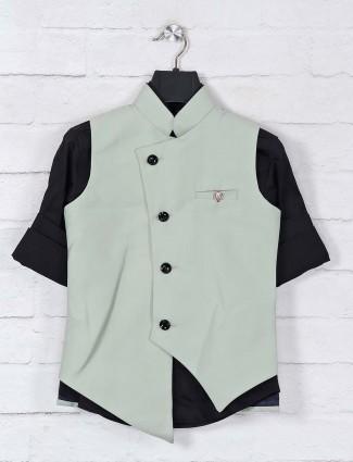 Pista green solid designer waistcoat set