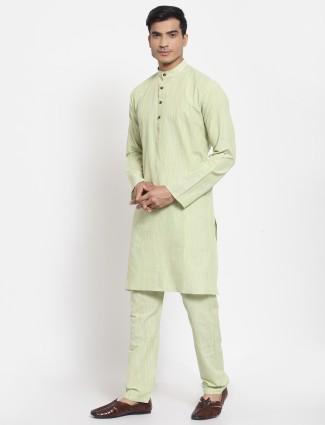 Pista green solid style men kurta set