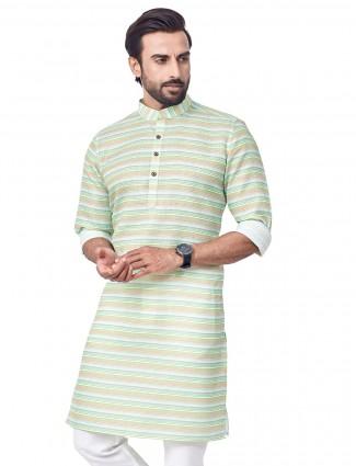 Pista green stripe style kurta in cotton