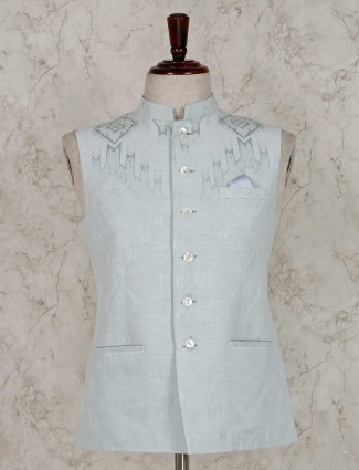 Pista green terry rayon waistcoat for party