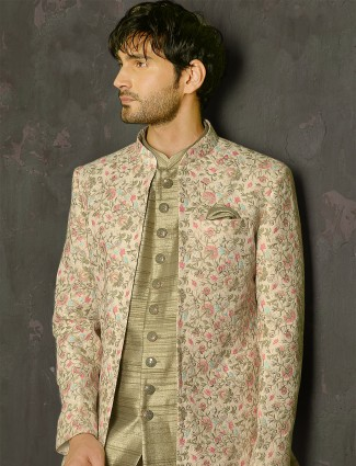 Pista green thread work inflated indowestern suit for male