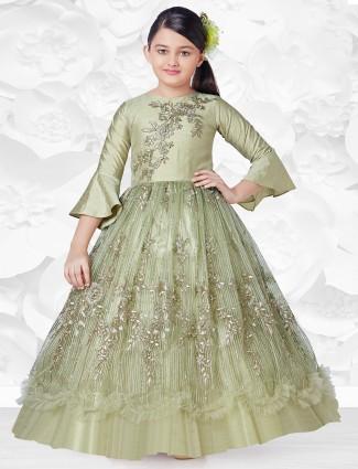 Pista green wedding gown with zari work details