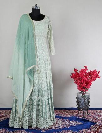 Pista green wedding wear anarkali suit for women