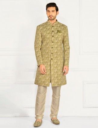 Pista green wedding wear cotton silk indowestern suit